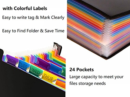 24 Pockets Expanding File Folder/ A4 Accordion File Organizer/Multicolor Portable Expanding File Folder,High Capacity Plastic Business Portable Accordion File Bag,with Colored Tab Office (01) Photo #5