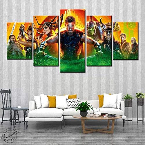 Moderne Leinwand Ölgemälde Kunst 5 Panel Film HD Poster und Drucke für Wohnzimmer Home Decoration,Rahmenlose Malerei,20x35cmx2, 20x45cmx2, 20x55cmx1