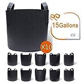 Gardzen 10-Pack 15 Gallon Grow Bags, Aeration Fabric Pots...
