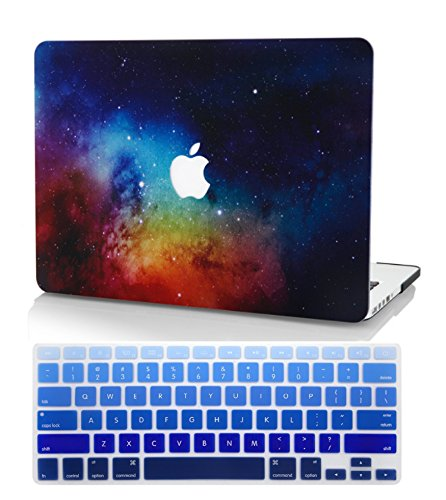 KECC Laptop Case for New MacBook Air 13' Retina (2020/2019/2018, Touch ID) w/Keyboard Cover Plastic Hard Shell Case A1932 2 in 1 Bundle (Night Dream)
