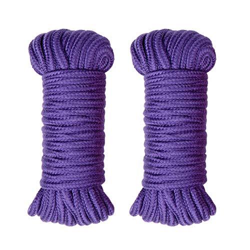 XiYee Cuerda de Algodón, 2 Piezas de Cuerda Algodón Trenzada de Amarre 10 Metros Púrpura, 8MM × 10M, Paquete de 2, 10 m, Cuerda, de Algodón Trenzado Suave para Tarjetas Hechas a Mano, Jardinería