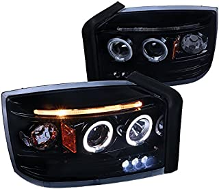 For Dodge Dakota Replacement Glossy Black Dual Halo LED Projector Headlights Lamps