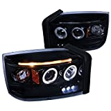 Spec-D Tuning For Dodge Dakota Glossy Black Dual Halo LED Projector Headlights Lamps