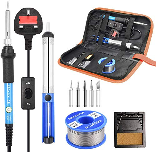 UpgradeSoldering Iron Kit, SREMTCH 60W   220V Electronic Soldering Iron Kit Adjustable Temperature 200-450 ° C and ON Off Switch, 100g Wire, 5 Pcs Tip, Desoldering Pump, Stand with Sponge, PU Bag