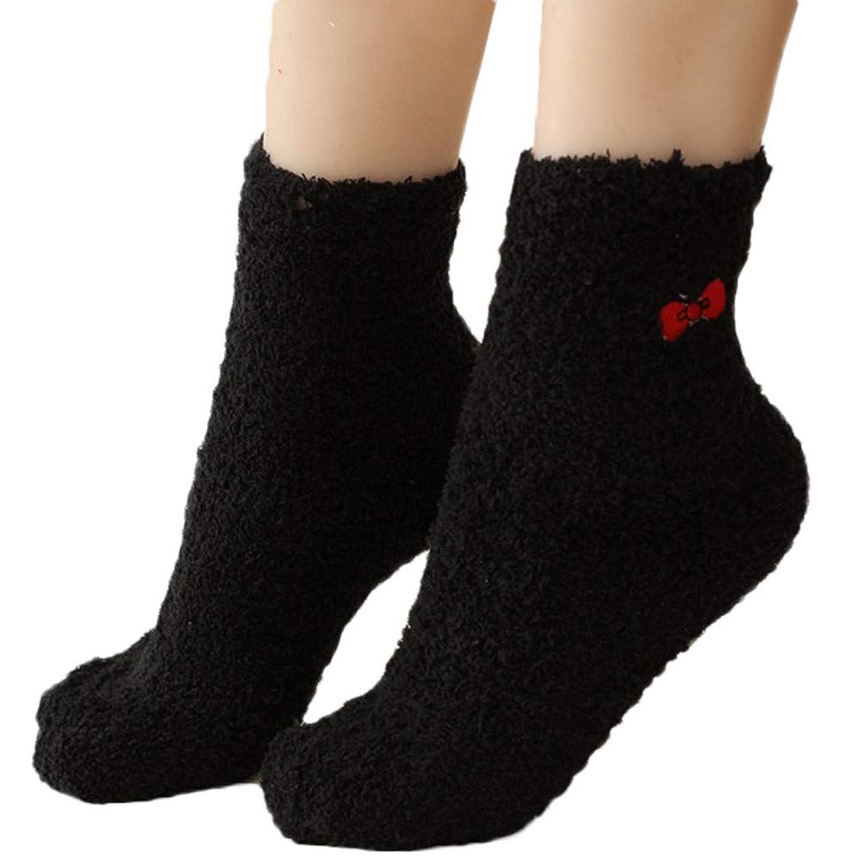 幸運な太陽 靴下 1足組 女性 弓ソックス マルチ カラー かわいい 冬 ソックス ゆったり 家着 無地 通気 快適 可愛い 伸縮 秋冬用