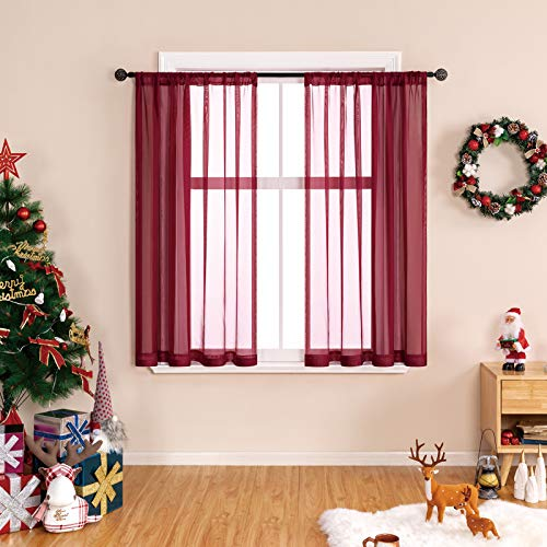 MRTREES Short Sheer Curtains 45 inches Long Burgundy Red Sheers Kitchen Curtains Christmas Xmas Holiday Small Window Voile Basement Curtains Rod Pocket Bathroom Window Treatment Set 2 Panels