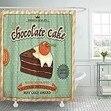 Duschvorhang Jubiläum Cupcake Vintage Schokoladenkuchen Retro Schönheit Geburtstagsrand Duschvorhänge Sets mit 12 Haken 72x72 Zoll wasserdichtes Polyestergewebe Badezimmer-Set