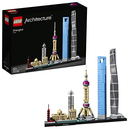 LEGO Architecture - Shanghái, Set de Construcción de Skyline con el World Financial Center y la Torre de la Perla Oriental, Regalo Coleccionable (21039)