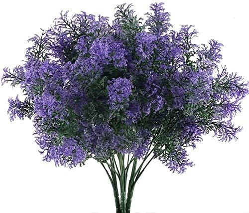 Künstliche Blumen Fake Flowers Bouquet Garland 4 Stück Lila Kunststoff Blumen mit Imitat-Pflanzen, Kunstpflanzen im Freien Spray in Lila gefälschten Pflanzen Fenster, Terrasse, Garten Tischdekoratione