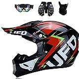 DOT - Casco de motocross UFO para niños, casco de cross, casco para niños, casco de cross, con guantes, máscara y gafas