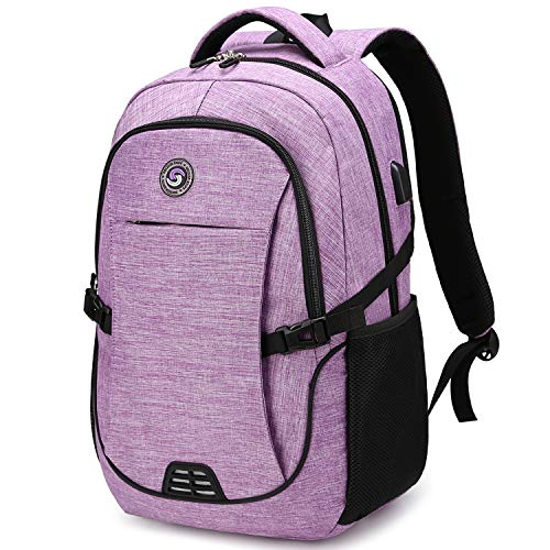 SHRRADOO Durable Waterproof Anti Theft Laptop Backpack Travel Backpacks Bookbag with usb Charging Port for Women & Men School College Students Backpack Fits 15.6 Inch Laptop Purple
