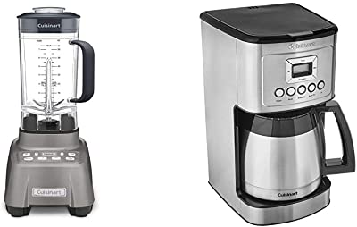 Cuisinart Hurricane Blender, 2.25 Peak, Gun Metal & Stainless Steel Thermal Coffeemaker, 12 Cup Carafe, Silver