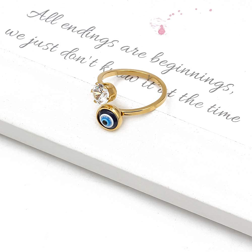 XUN Zhe Golden Evil Eye Open Finger Rings Adjustable Rhinestone Cubic Mid Openable Rings Turkish Faith Protection Jewelry for Women Girls