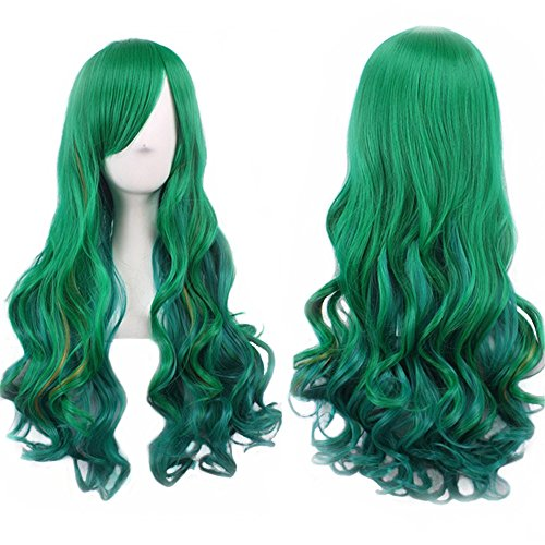 Green Wigs for Women Long Green Wig Curly Wavy Hair Wigs for Women Harajuku Lolita Green Cosplay Wig with Bangs Heat Resistant Synthetic Wigs for Party Costume Halloween with Wig Net BU036D