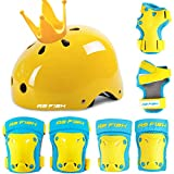Children's roller skating helmet girls summer protective gear set skates baby bicycle toddler safety helmet riding-L code bright yellow 7 piece set + crown_S [For 3-6 years old]