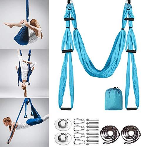 MQSS Hängematten-Set aus Seide, für Yoga, Trapez, Yoga, Hängematte, mit breitem Fliegen-Yoga, Inversion Werkzeug mit Gänseblümchen-Ketten blau