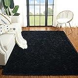 Plmmua Fluffy Shaggy Area Rug for Bedroom, Plush Fuzzy Kids Rug for Living Room, Modern Indoor Soft Home College Decor Carpet for Nursery, Dorm Room, Washable Non Slip Rug, 2 x 6 Feet, Black
