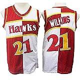 XIAOHAI Hombres Camisetas NBA-Atlanta Hawks # 21 Dominique Wilkins Desgaste Fresco y Transpirable Tejido Transpirable Resistente al Baloncesto de la Vendimia Jerseys,M