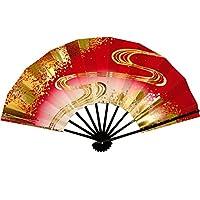 舞扇子 春かすみ1328 流水 黒塗 9寸5分 踊り用 (9.5寸(標準), 赤)