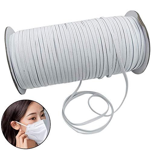 Ehpow 182M Länge 0,5 cm Breite Gummiband Knit Elastic String Cord für Nähen Craft DIY, Maske, Röcke und Hosen Hosenbun (0,3cm Breite, Weiß)