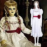 Rubyonly Película de Terror Annabelle Cosplay de Halloween Vestido Blanco de Manga Larga Vestido Largo para Las niñas Disfraces para niños Mujeres Adultos Vestidos de Fiesta,Dressandbelt,XL