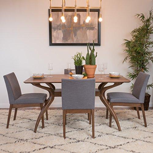 Katherine Dark Grey Fabric/Natural Walnut Finish Curved Leg Rectangular 5 Piece Mid Century Modern Dining Set