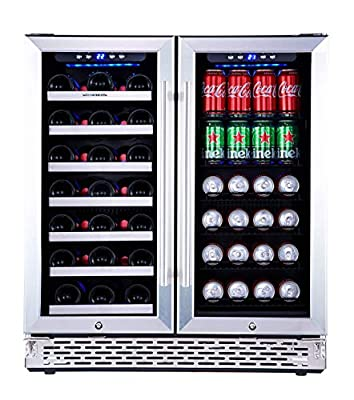 Phiestina Wine and Beverage Refrigerator   30 Inch Built-In Dual Zone Wine Beer Cooler Refrigerator   Free Standing French Door Drink Fridge with Digital Memory Temperature Control