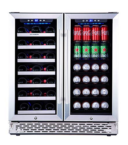 Phiestina Wine and Beverage Refrigerator   30 Inch Built-In Dual Zone Wine Beer Cooler Refrigerator...