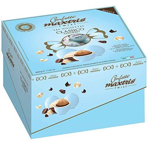 Confetti MAXTRIS Les NOISETTES Classico Azzurro MONOPORZIONE Nocciola TOSTATA 500 GR. CONFETTATA