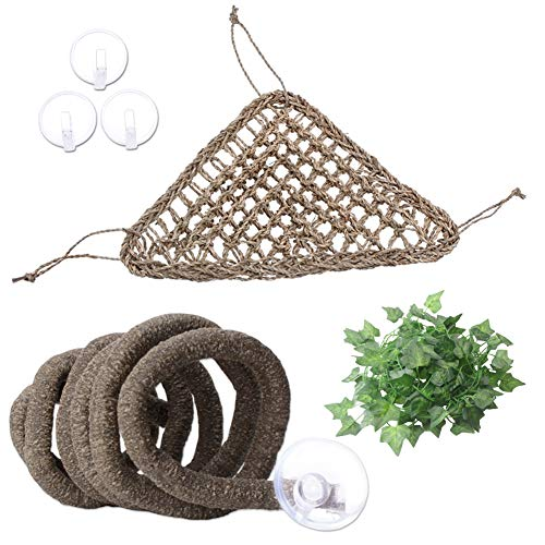 AUBBC Bearded Dragon Hammock, 100% Natural Seagrass Triangular Lizard Lounger with Jungle Climber Vines Reptile Leaves Hooks for Geckos, Anoles, Snakes and More (12.5 x16.5 Inch)