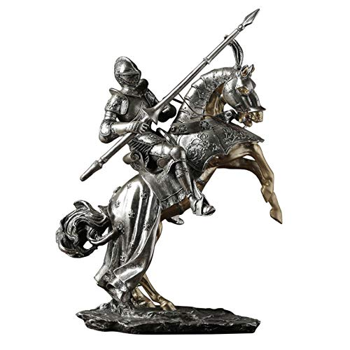 Fikujap Medieval Knight in Armor Statues Model,Roman Warrior Going To Battle on The Horse,Bronze Finish Collectible Figurines Retro Renaissance Decor 31.5X13x42.5Cm