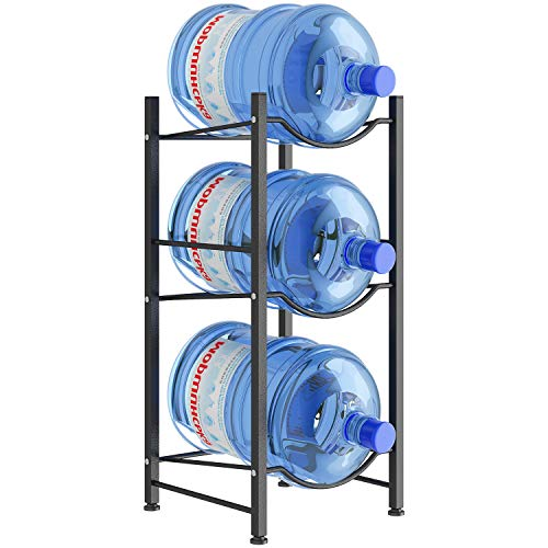AIYAKA 3 Tier Heavy Duty Gallon Water Cooler Jug Rack,Can be Placed in the Home, Office Organization,Detachable,Save Space,Black