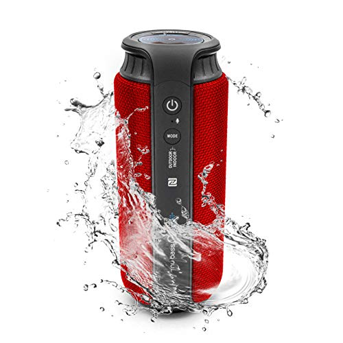 nu bass GO - Portable Rechargeable Wireless Bluetooth Speaker HD X-Bass Enhanced Sound System with 24W of Output and Water Resistant IPX4 Interchangeable Cover (Red)