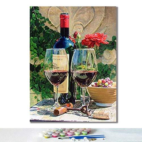 DIY digitaal olieverfschilderij olieverfschilderij natuur tot wijnglas fruit kunst schilderij handgeschilderd woonkamer decoratie -40 x 50 cm zonder lijst