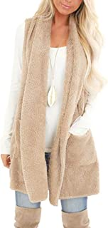 Women's Open Front Cardigan Vest Winter Warm Sleeveless Solid Faux Fur Fluffly Shaggy Jacket Coats with Pockets