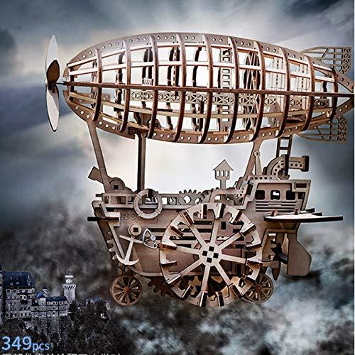 MAYL 3D Holzpuzzle Airship Model Kits for Erwachsene DIY Fertigkeit-Kits, Räder sind beweglich