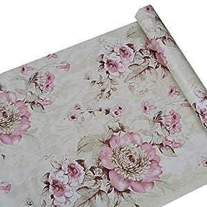Adhesivo Decorativo Rosa peonía Flores Papel de Contacto Estante Maletero Peel y Stick extraíble Papel Pintado para…
