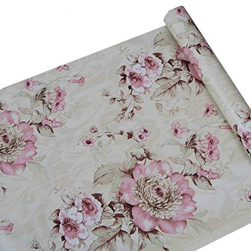 Adhesivo decorativo rosa peonía flores papel de contacto estante maletero Peel y Stick extraíble papel pintado para estantes cajón muebles pared artes y manualidades decoración 45 x 200 cm