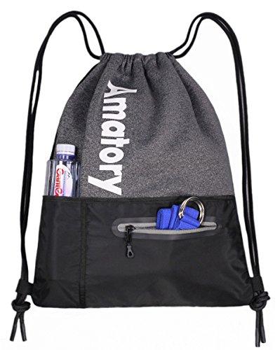 Gym Drawstring Backpack String Bag Men Women Workout Dance Sack Pack Sackpack (Water Bottle Pocket Gray)