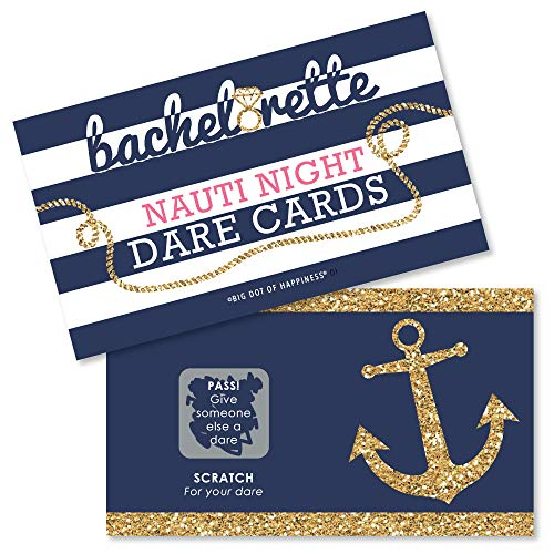 Big Dot of Happiness Last Sail Before the Veil - Nautical Bridal Shower and Bachelorette Party Game Scratch Off Dare Cards - 22 Count