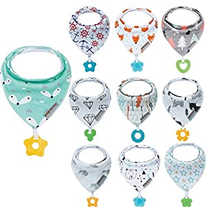 10-Pack Baby Bandana Drool Bibs and 10-Pack Teething Toys Made with 100% Organic Cotton, Soft and Super Absorbent Baby Shower Gift Vuminbox