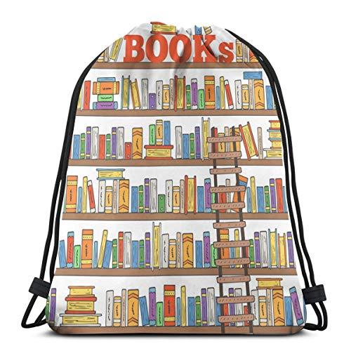 Nicokee Tasche mit Kordelzug, Cartoon-Design, modernes Bücherregal, Mehrfarbig, Sport, Fitnessstudio, Rucksack, Tasche für Wandern, Yoga, Fitnessstudio, Schwimmen, Reisen, Strand