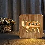 Luz De Noche Lámpara De Madera 3D Con Estrella De Elefante Nórdico, Luz De Noche Usb, Lámpara De Mesa Para Niños, Lámpara De Escritorio, Cumpleaños Creativo, Decoración De Dormitorio En Casa
