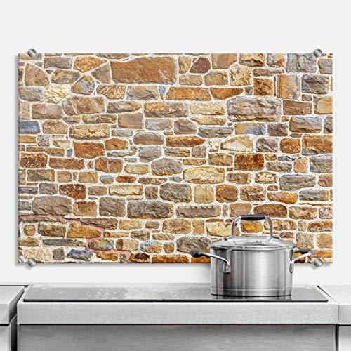 Spatscherm Keuken - Stenen Muur - Hittebestendig Glas als Keuken Achterwand - inclusief Luxe Wandklemmen - 100x70 cm (bxh)