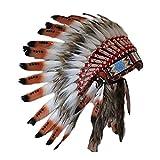 KARMABCN C20 Sombrero Indio 5-8 años Niño/Niña: Penacho con Pluma Real para 21 Pulgadas o 53,4 cm Marron