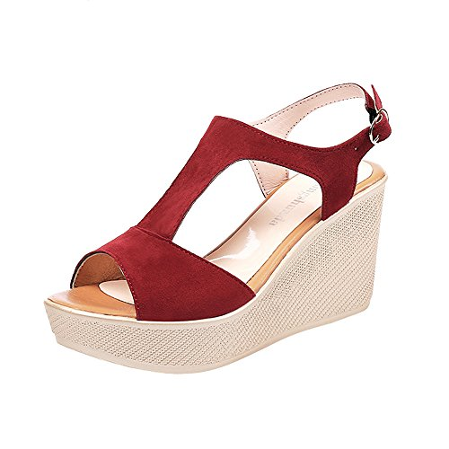 Sandalen voor dames en meisjes, plateausandalen met hak, sandalen, sleehak, Romeinse sandalen, sandalen, schoenen, sleehak, open schoenen, vrije tijd, hoge hakken