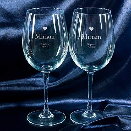 Calledelregalo Regalo Personalizado: Copas de Vino 'corazón' grabadas con Nombre y Firma