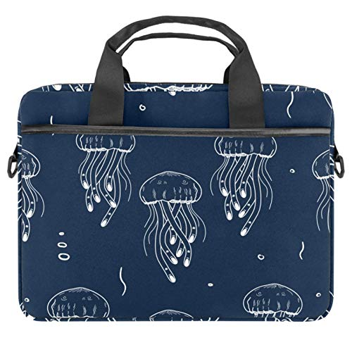 Laptop Bag Marine Jellyfish Navy Background Notebook Sleeve with Handle 13.4-14.5 inches Carrying Shoulder Bag Briefcase