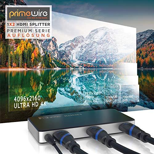 CSL - HDMI Splitter 4K UHD 2160p 4K 30Hz - Full HD 144 Hz - 1 in 2 Out - CEC - HDCP - 3D Ready - Deep Color 30Bit 36Bit 48Bit - Kompatibel mit Xbox PS4 PS3 BLU-RAY-Player Firestick HDTV und Apple TV