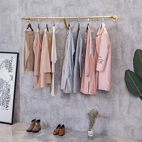 """FURVOKIA Industrial Pipe Wall Mounted Clothes Hanging Shelves System,Metal Clothing Towel Rack,Garment Rack Perfect for Retail Display,Closet Organization (One Pipe Shelves, Gold, 59"""" L x 11.8"""" D)"""